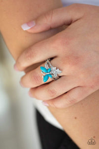 Paparazzi Flutter Flirt - Blue Ring - Bling It On Online