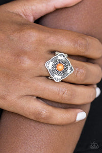 Paparazzi Four Corners Fashion - Orange Stone Dots Embossed Square Frame Ring - Bling It On Online