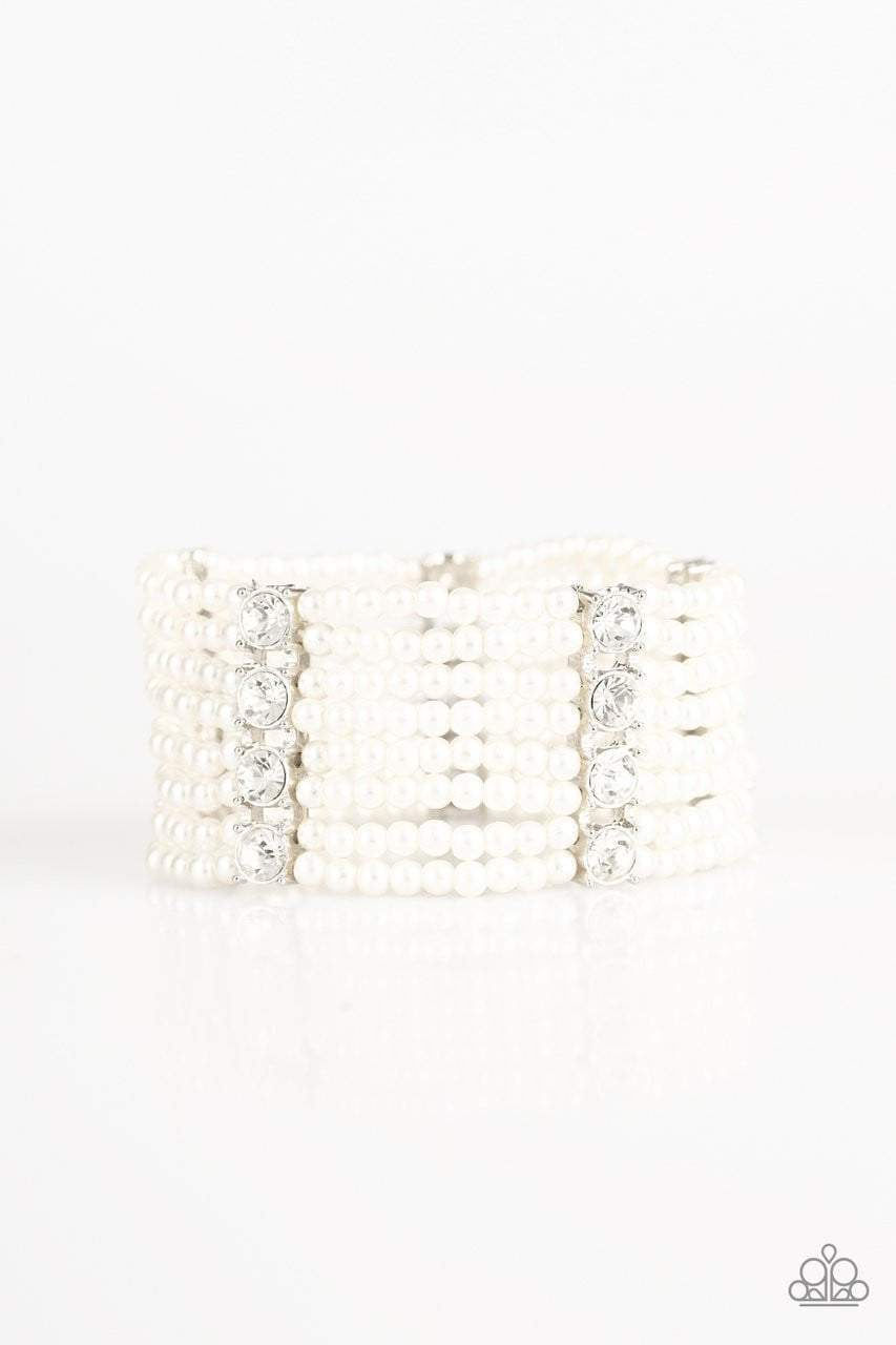 Paparazzi Get In Line - Stacked Rhinestone Pearl White Bracelet - 2019 Exclusive Convention Collection - Bling It On Online