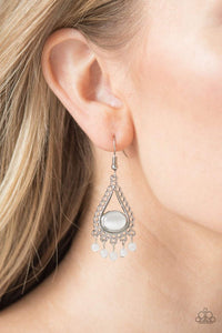 Paparazzi Give Me The GLOW-down - White Moonstone Silver Filigree Teardrop Frame Earrings - Bling It On Online