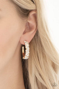 Paparazzi Glitter Galaxy - White Rhinestone Encrusted Gold Hoop Earrings - Bling It On Online