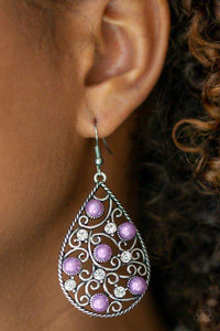 Paparazzi Glowing Vineyards - Vine Filigree Silver Teardrop Purple Pearl White Rhinestone Earrings - Bling It On Online