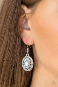 Paparazzi Good LUXE To You! - Blue Pearl Silver Encrusted Rhinestone Frame Earrings - Bling It On Online