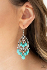 Paparazzi Gorgeously Genie - Faceted Blue Teardrop Bead Studded Silver Frame White Rhinestone Earrings - Bling It On Online