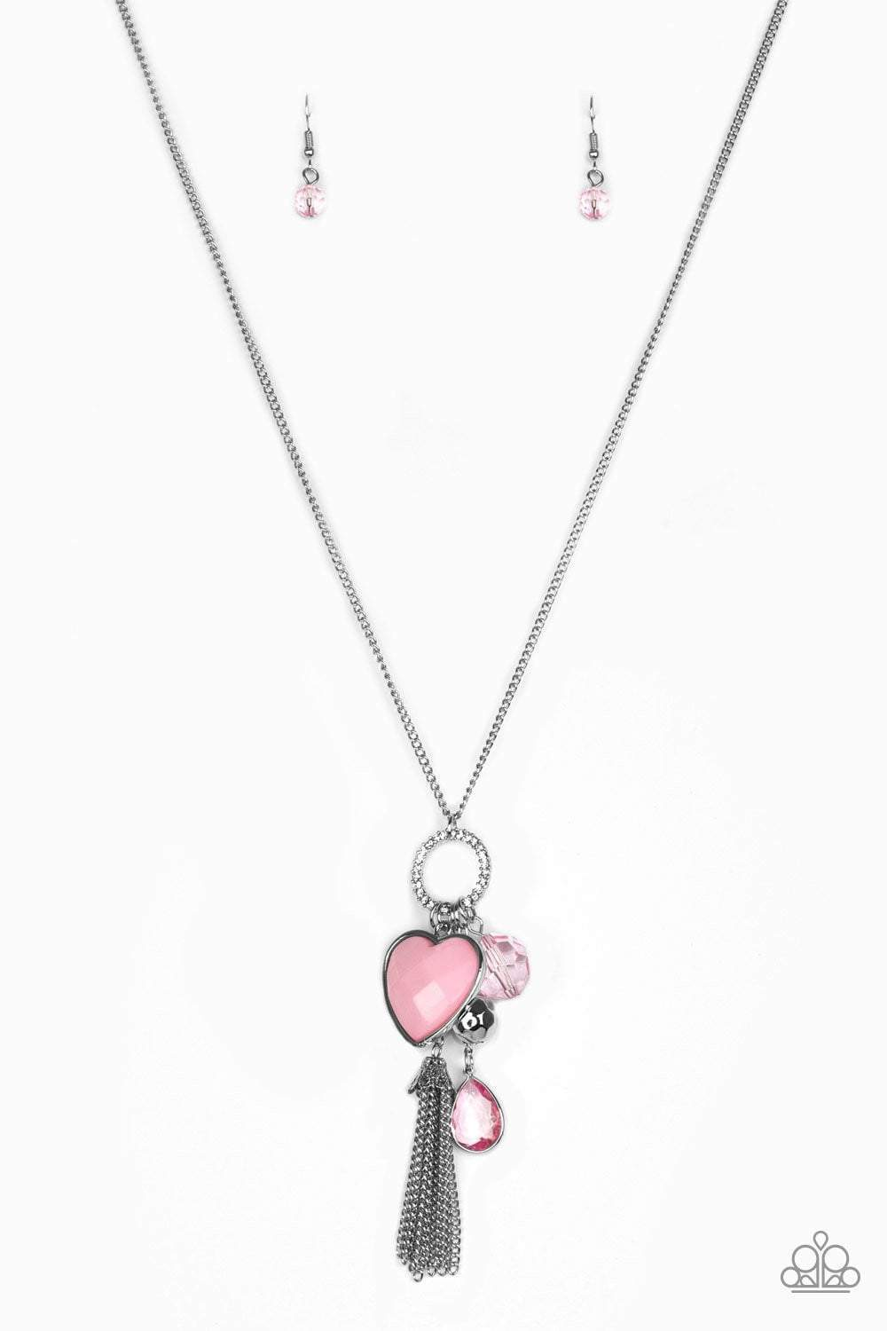 Paparazzi Haute Heartbreaker - Faceted Pink Gem Heart Charm Silver Necklace - Bling It On Online
