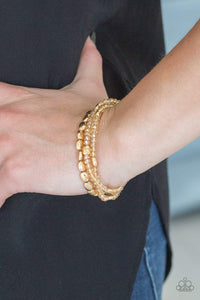 Paparazzi Hello Beautiful - Golden Crystal Bead Gold Accent Bracelet - Bling It On Online