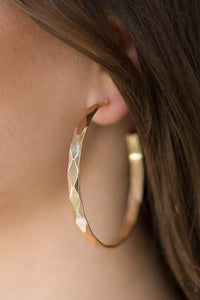 Paparazzi Hey, HAUTE Stuff - Diamond Cut Texture Gold Hoop Earrings - Bling It On Online