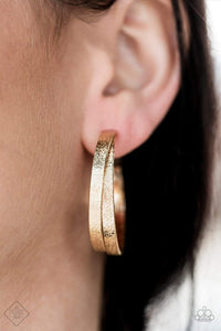 Paparazzi High-Class Shine - Hammered Gold Crisscross Hoop Earrings - Bling It On Online
