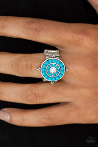 Paparazzi High-Tide Pool Party - Blue Beads White Rhinestone Ring - Bling It On Online