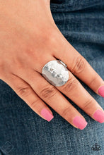 Load image into Gallery viewer, Paparazzi Hit The BRIGHTS - Hexagonal Pattern Silver Hammered Silver Band Ring - Bling It On Online