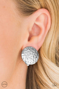 Paparazzi Hold The SHINE - Delicately Hammered Silver Clip On Earrings - Bling It On Online