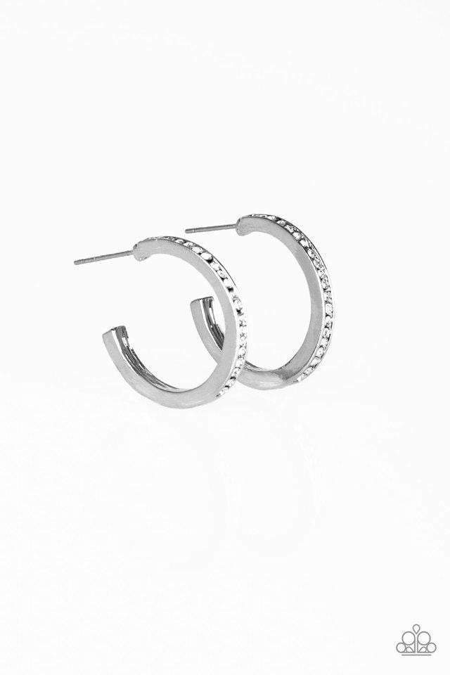 Paparazzi Hoop Haven - White Earrings - Bling It On Online