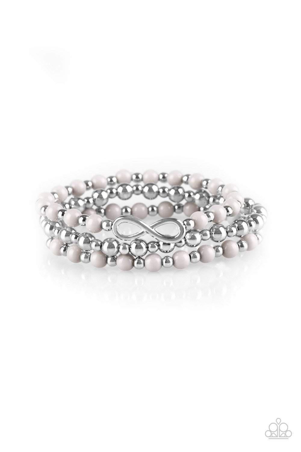 Paparazzi Immeasurably Infinite - Gray and Silver Bead Silver Infinity Charm Layered Bracelet - Bling It On Online