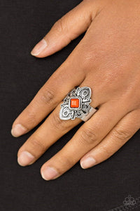 Paparazzi Impressive TREK Record - Orange Bead Scalloped Silver Frame Ring - Bling It On Online