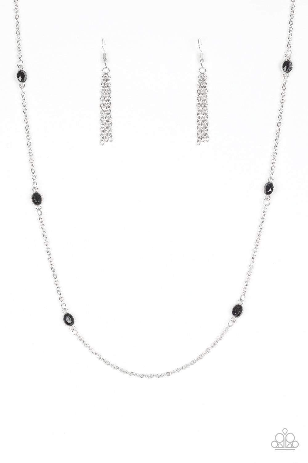 Paparazzi In Season - Black Bead Studded Silver Frame Necklace - Bling It On Online