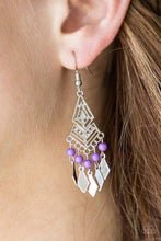 Load image into Gallery viewer, Paparazzi Island Import - Airy Geometric Frame Kite Silver Discs Purple Bead Fringe Earrings - Bling It On Online