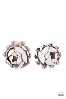 Paparazzi Just BUD Out! - Gray Petal White Beaded Center Hair Clip - Bling It On Online