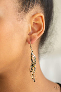 Paparazzi Let Down Your Wings - Aurum Rhinestone Wing Brass Earrings - Bling It On Online