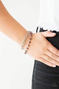 Paparazzi Life Of The Block Party - Purple Crystal Bead Silver Bracelet - Bling It On Online