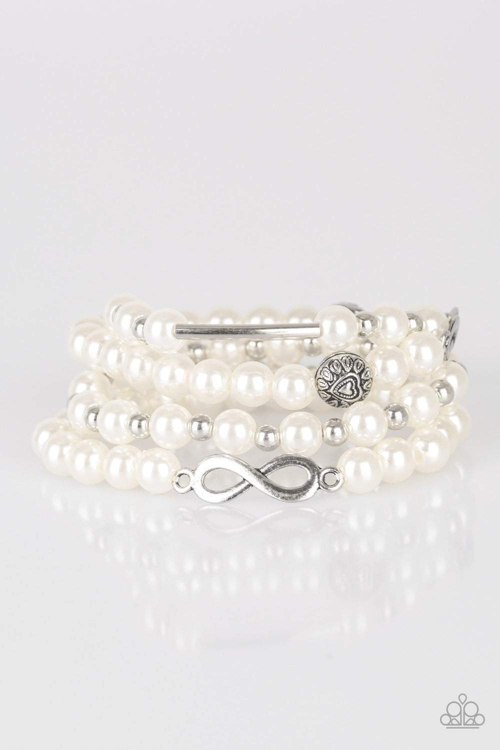 Paparazzi Limitless Luxury - Silver Accent White Pearl Infinity Charm Bracelet - Bling It On Online