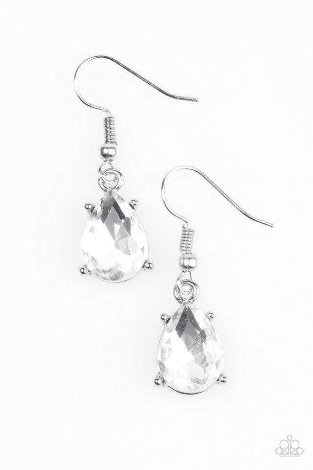 Paparazzi Live Love LUXE - Teardrop White Rhinestone Silver Frame Earrings - Bling It On Online