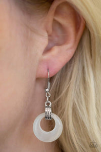 Paparazzi Look High and GLOW - White Moonstone Hoop Silver Fitting Earrings - Bling It On Online