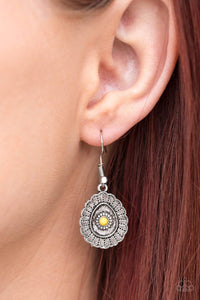 Paparazzi Magnificently Mayan - Antiqued Scalloped Silver Frame Yellow Bead Center Earrings - Bling It On Online
