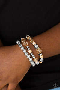 Paparazzi Malibu Marina - Glassy Brown Bead Silver Accent Bracelet - Bling It On Online