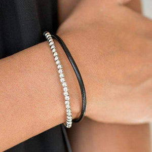 Paparazzi Mountain Mod - Silver Bead Brown Leather Cording Bracelet - Bling It On Online