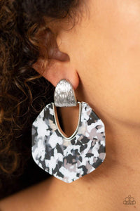 Paparazzi My Animal Spirit - Faux Marble Acrylic Silver Fitting Retro Earrings - Bling It On Online