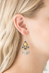 Paparazzi No Place Like HOMESTEAD - Yellow Stone Silver Frame Beaded Fringe Earrings - Bling It On Online