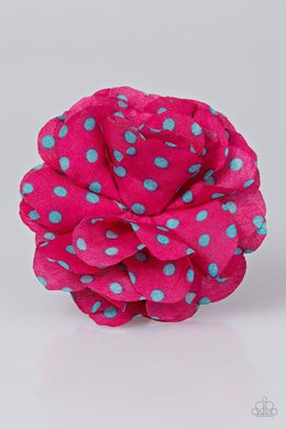 Paparazzi Polka and Petals - Blue Polka Dot Pink Petal Blossom Hair Clip - Bling It On Online