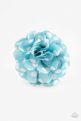 Paparazzi Polka Posy - White Polka Dot Blue Petal Blossom Hair Clip - Bling It On Online