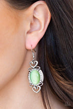 Load image into Gallery viewer, Paparazzi Port Royal Princess - White Rhinestone Green Moonstone Silver Frame Earrings - Bling It On Online