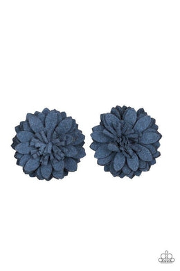 Paparazzi Posh and Posy - Blue Suede Petal Blossom Hair Clip - Bling It On Online
