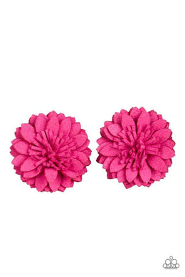 Paparazzi Posh and Posy - Pink Suede Petal Blossom Hair Clip - Bling It On Online