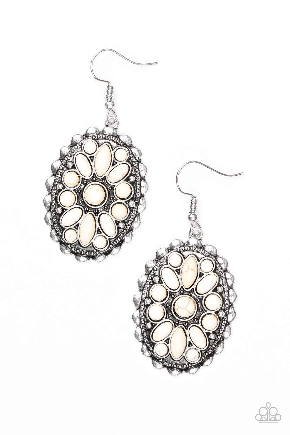 Paparazzi Prairie Poppy - White Stone Floral Pattern Textured Silver Frame Earrings - Bling It On Online