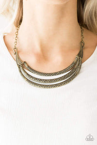 Paparazzi Primal Princess - Embossed Brass Plates Necklace - Bling It On Online
