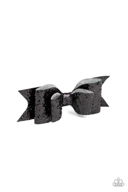Paparazzi Put A Bow On It - Black Leather Sparkle Bow Hair Clip - Bling It On Online