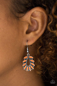 Paparazzi Rainforest Romance - Painted Orange Petal Airy Teardrop Center Earrings - Bling It On Online