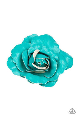 Paparazzi Really Rosy - Blue Scalloped Petal Rosebud Hair Clip - Bling It On Online