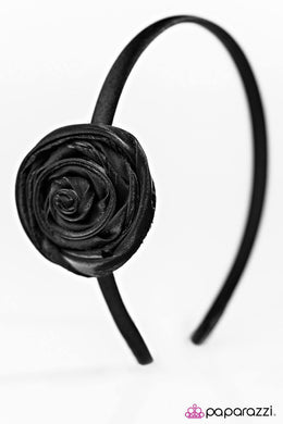 Paparazzi Really Starting To Grow On Me - Shimmery Black Chiffon Bud Headband - Bling It On Online