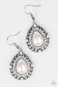 Paparazzi Red Carpet Sparkle - White Earrings - Bling It On Online