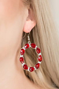 Paparazzi Ring Around The Rhinestones - Red Earrings - Bling It On Online