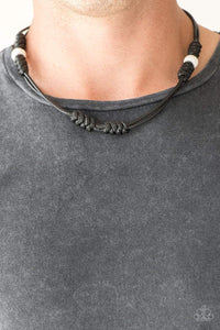 Paparazzi River Rover - White Lava Rock Black Cording Necklace - Bling It On Online