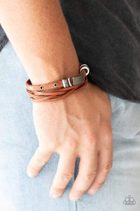 Paparazzi Road Rally - Metallic Accents Brown Leather Bracelet - Bling It On Online