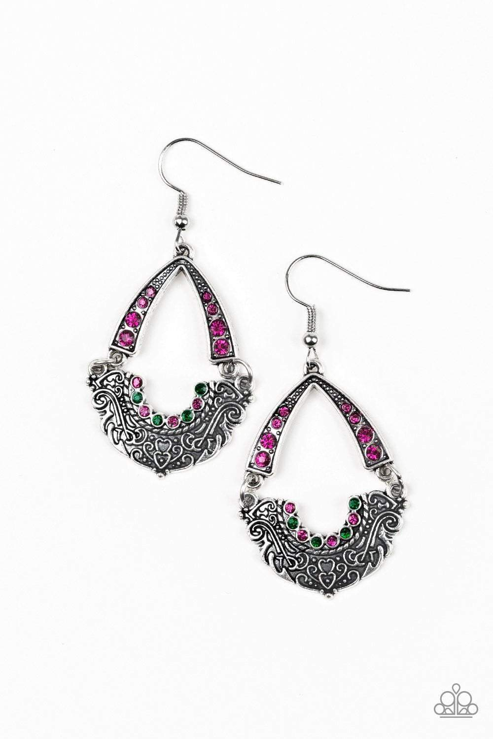 Paparazzi Royal Engagement - Multi Green Pink Rhinestone Silver Ornate Filigree Earrings - Bling It On Online