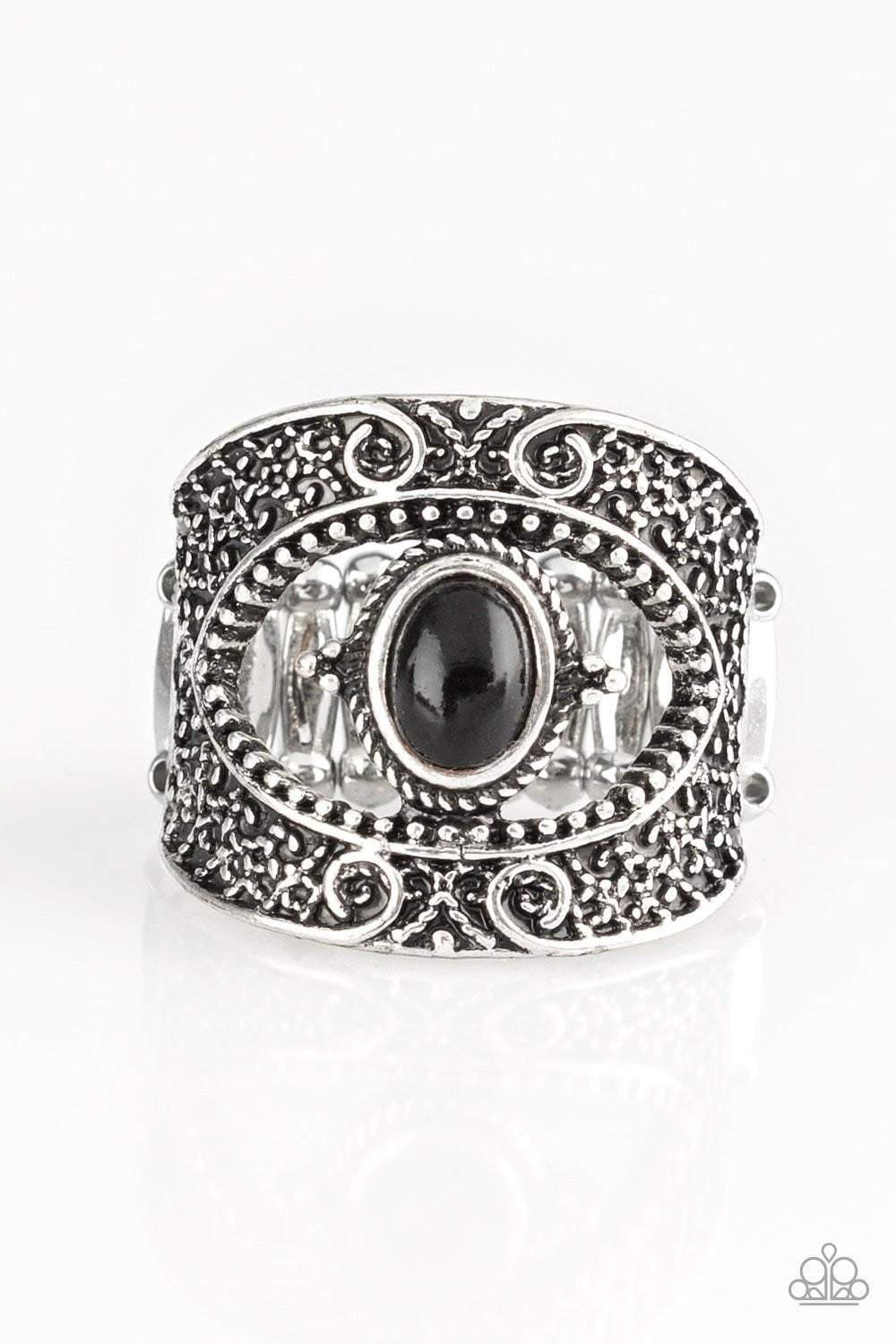 Paparazzi Rural Relic - Black Stone Embossed Filigree Silver Frame Ring - Bling It On Online