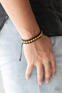 Paparazzi Rural Rover - Yellow Wooden Bead Black Cording Bracelet - Bling It On Online