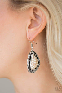 Paparazzi Santa Fe Soul - White Stone Studded Serrated Textured Silver Earrings - Bling It On Online